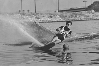 1960s: Mike was a regionally ranked competitor in slalom, tricks, and jump. Chasin' buoys on the Los Angeles River.