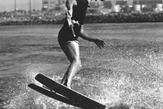 1966: Mike learned tricks from skiing great Chuck Stearns. Two-ski wake front-to-back on the Los Angeles River.