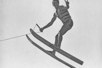 1969: Years of show skiing built confidence on the ramp. Mike joined the century club with a 102′ leap in 1969. He jumped 132′ at a the 2nd Marine World Pro Jump Tournament.