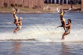 1972: Mixed Doubles were always a traditional show skiing act. (Mike near right @ Marine World Africa, USA)