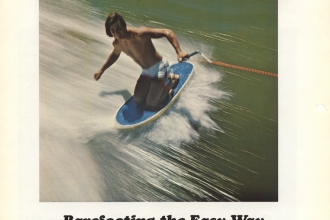 1972: Part of a promotional handout for Knee Ski. It was clear from the start that a kneeboard was a great barefoot training tool.