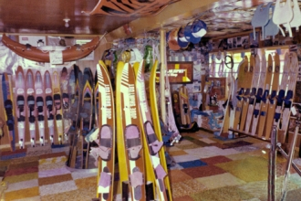 1983: Inside Mike's Ski Shop at the Windmill Resort, Parker Strip.