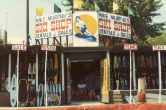 1983: A view from the River of Mike's Ski Shop at the Windmill Resort, Parker Strip. Check out the original white Skurfer on the left. Mike was the first US dealer to carry this new water toy.