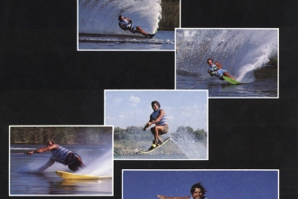 1984: Herbie Fletcher of surfing fame teamed up with Mike Murphy and Mike Mack to promote this colorful non-skid for water skis.