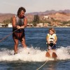 1987: Mike's unique method of getting in the water to student led to an extremely high success rate. Here he teaches his niece Mellissa.