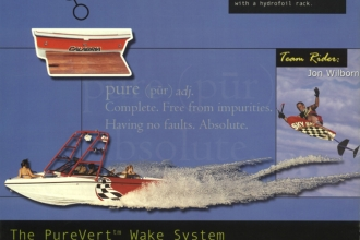 2000: Calabria Boats introduced Mike's revolutionary PureVert Wake Enhancement System. 700+ pounds of ballast in about 45 seconds without using pumps.